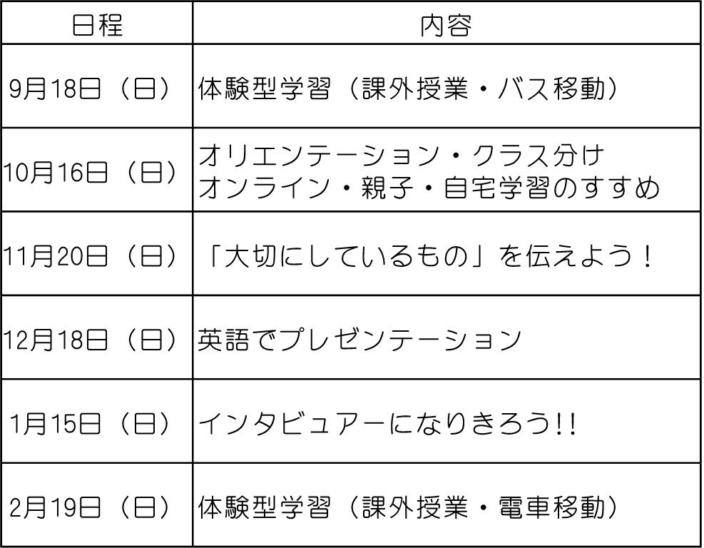 3月カリキュラム表