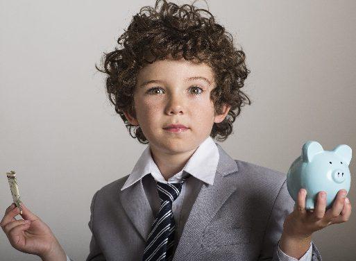 お金と子供画像